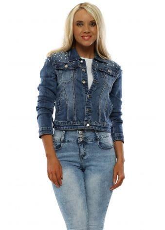 Blue Pearl Cropped Denim Jacket