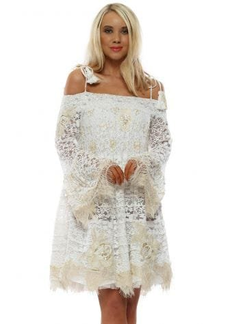 White Lace Pearl Cold Shoulder Beach Dress