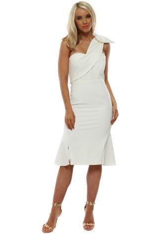 Ivory Stella Bow One Shoulder Midi Dress