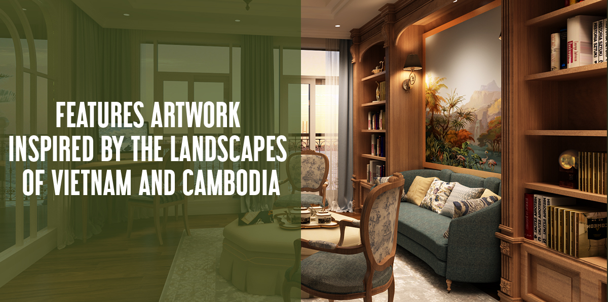 Features artwork inspired by the landscapes of Vietnam and Cambodia