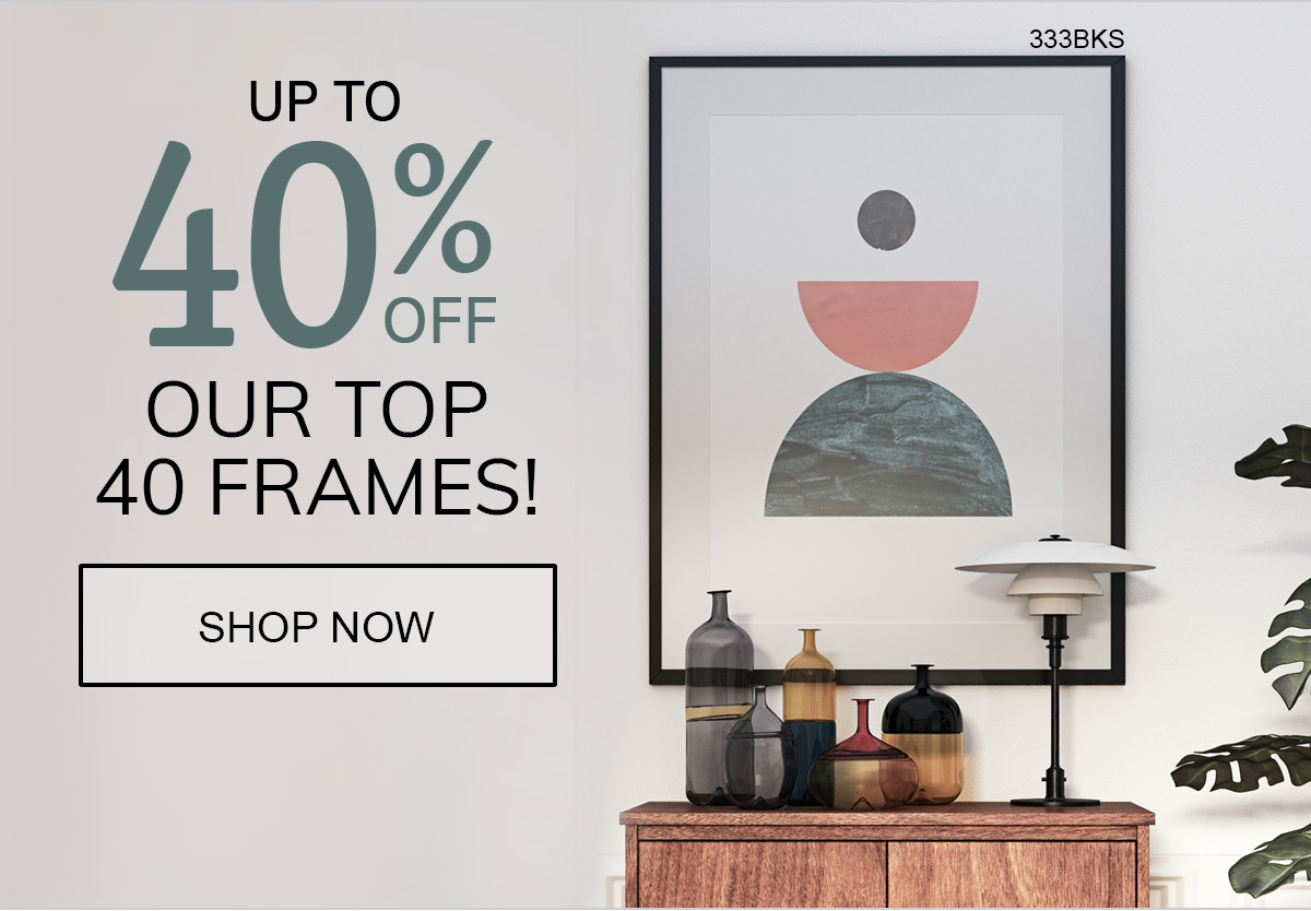 Save up to 40% on Our TOP 40 Frames!