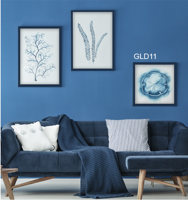 Blue monochrome room and art featuring gallery frame GLD11 in Navy.