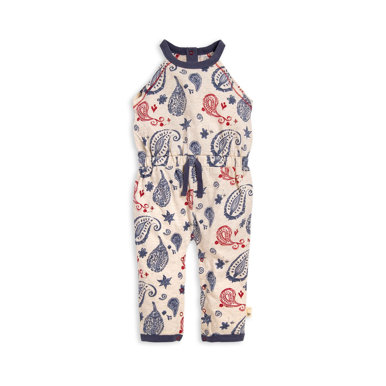 Painted Paisley Halter Organic Baby Girl Jumpsuit
