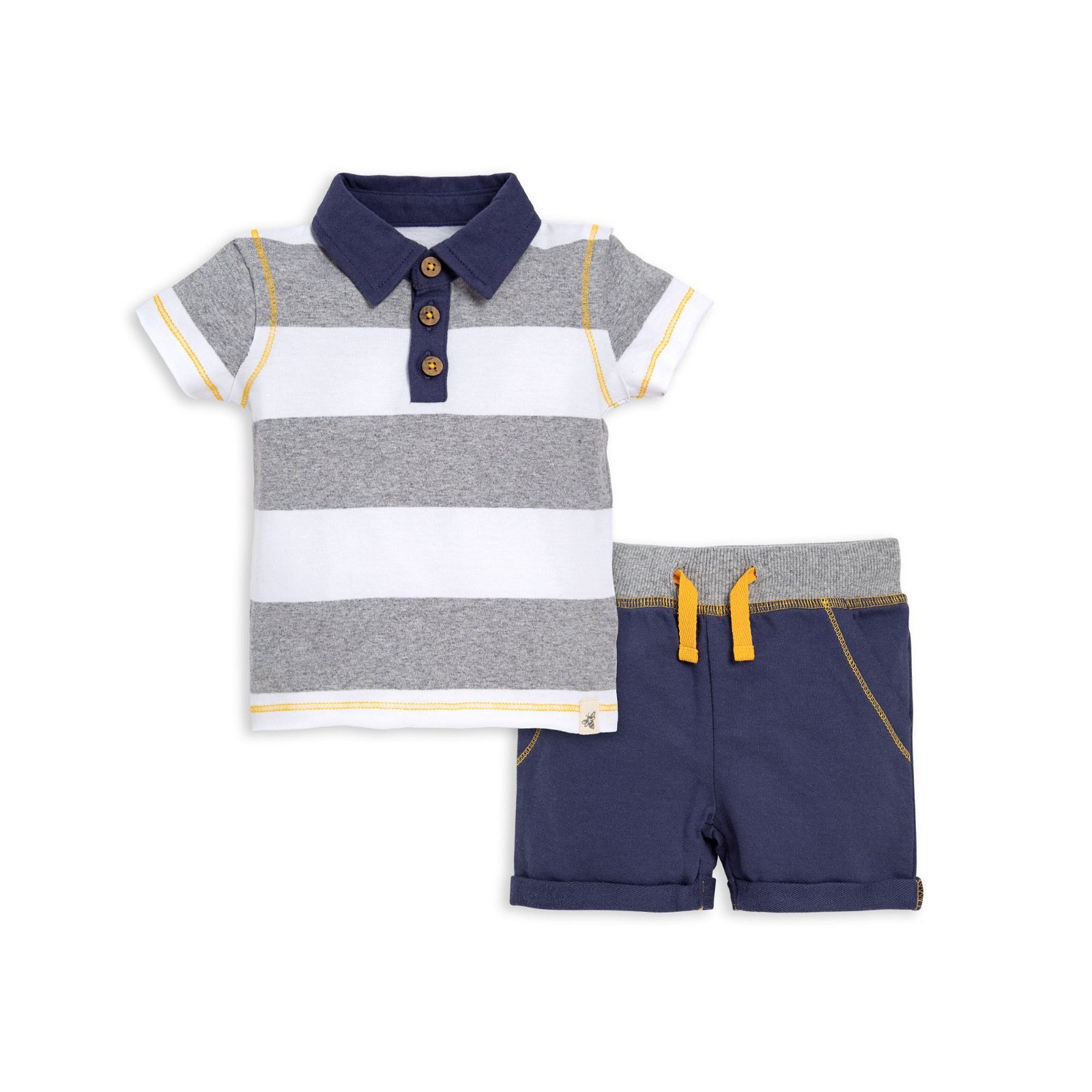 Rugby Stripe Organic Baby Polo & Short Set