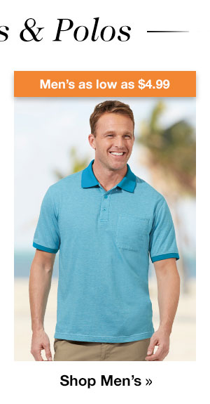 Shop Men's Knits & Polos as low as $4.99!