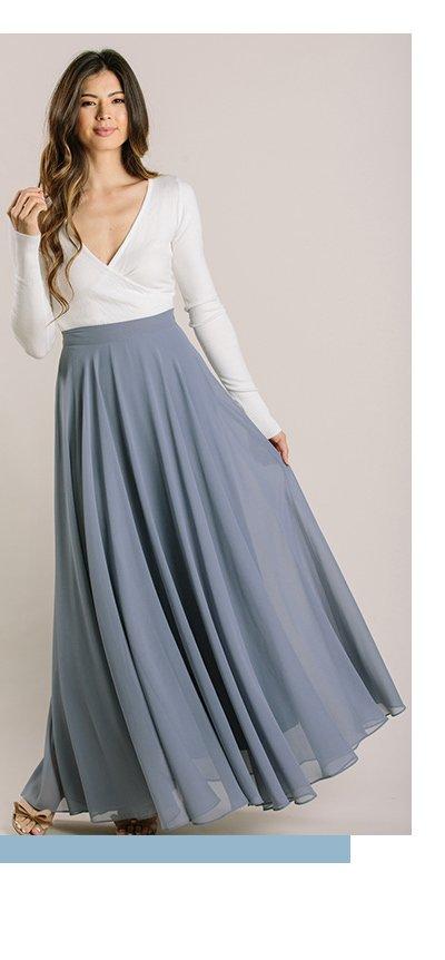 Amelia Full Slate Blue Maxi Skirt
