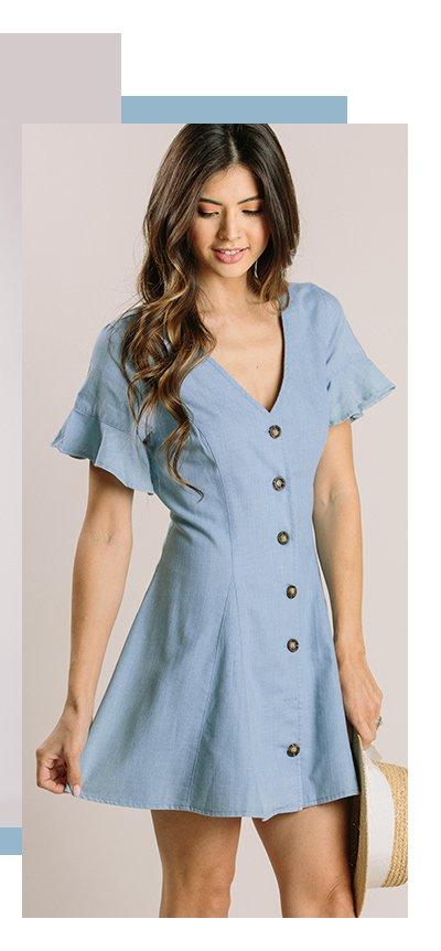 Amara Chambray Button Mini Dress