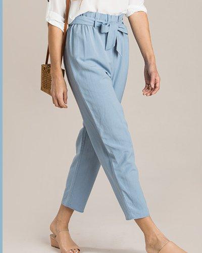Ashley Blue Waist Tie Pants