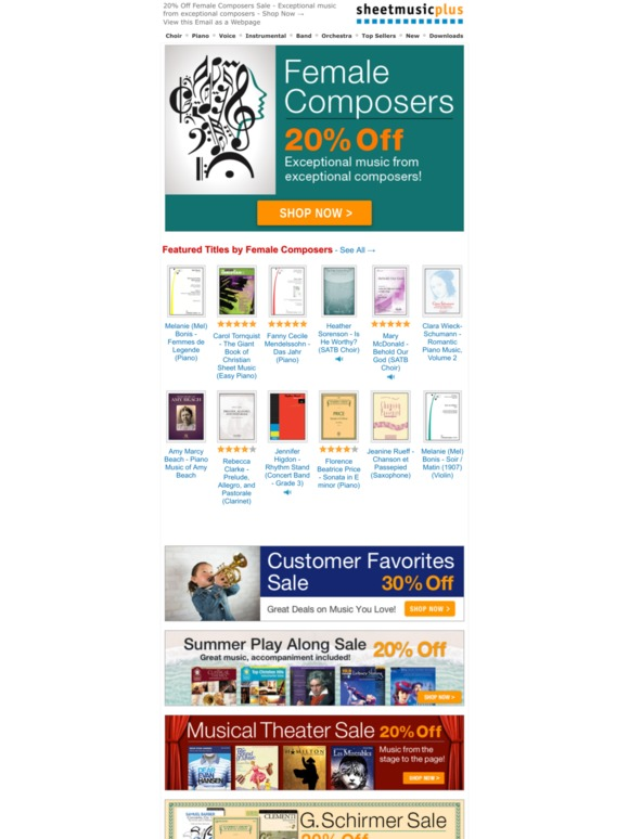 Sheet Music Plus: Save Big On Music By Female Composers! 20