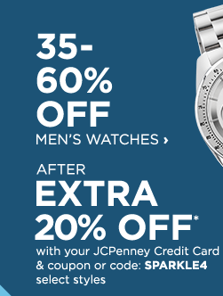 35 to 60% Off Men's Watches After Extra 20% Off* with your JCPenney Credit Card and coupon or code: SPARKLE4, select styles