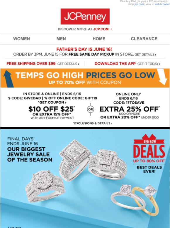 JC Penney: This  Is  BIG  Up to 70% off Fine & Fashion Jewelry | Milled