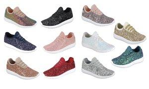 Women Bling Sequin Glitter Fashion Shoes Comfort Sneaker Lightweight