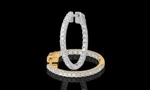 1/4 - 2.00 CTTW Inside-Out Diamond Hoop Earring in 14K Gold
