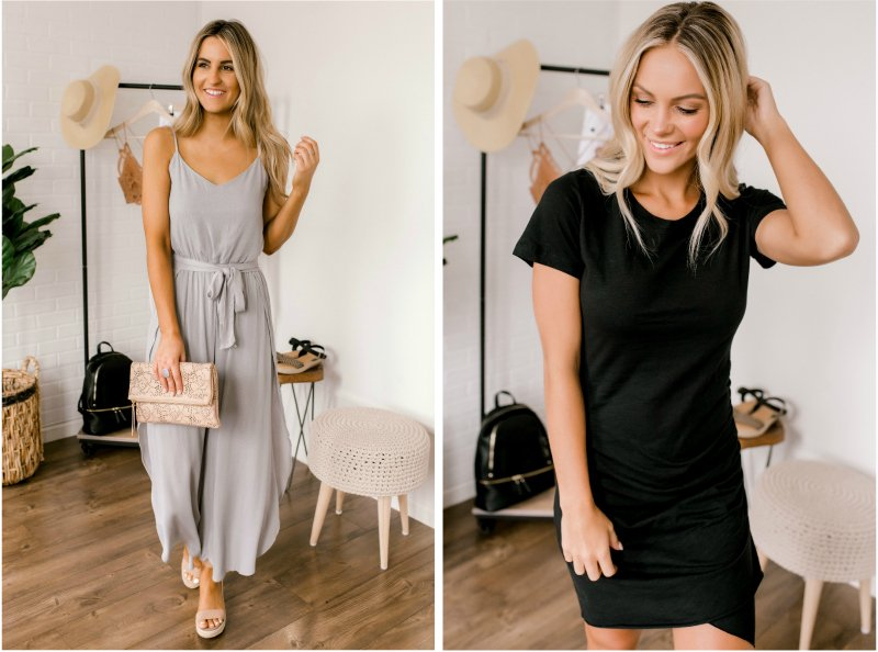 grey jumpsuit and black ruched dress