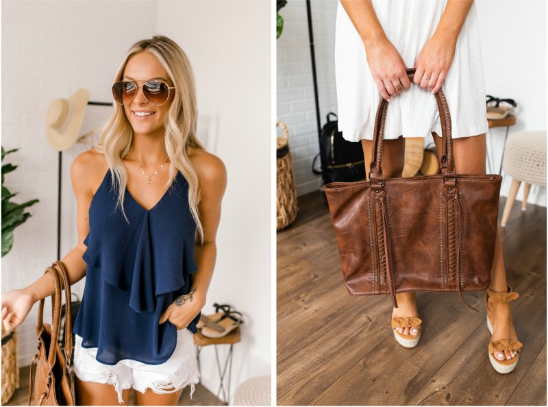 navy tank and brown tote