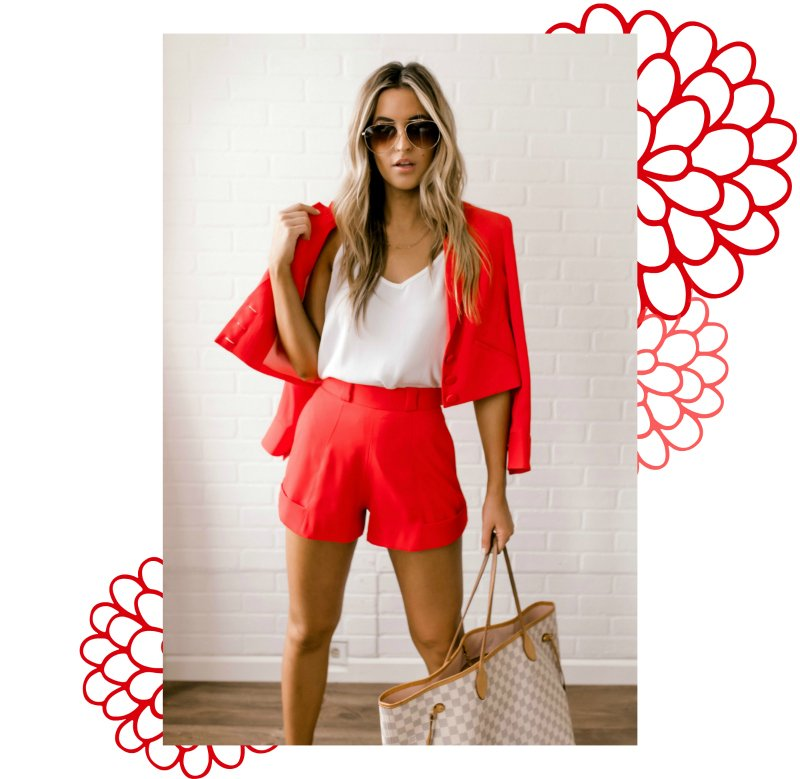 red blazer and shorts set