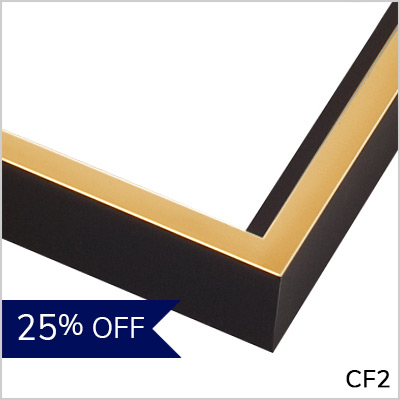 Black with Gold Wood Canvas Floater Frame - CF2