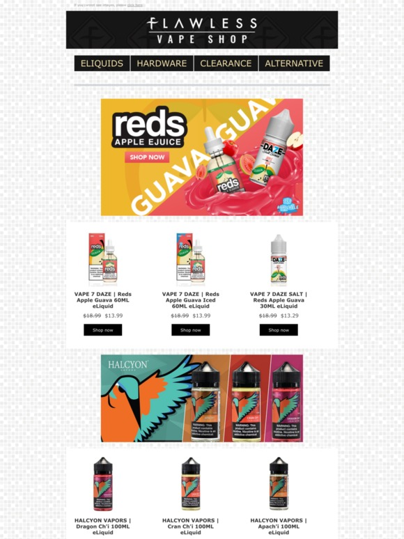 Flawless Vape Shop: Reds Guava Ejuice in stock! | Milled