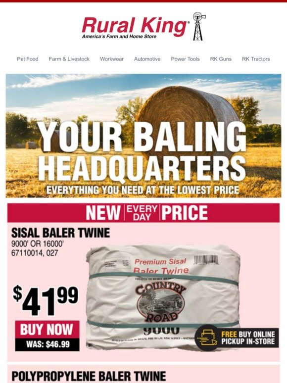 Rural King com: New Every Day Prices on Baler Twine! | Milled