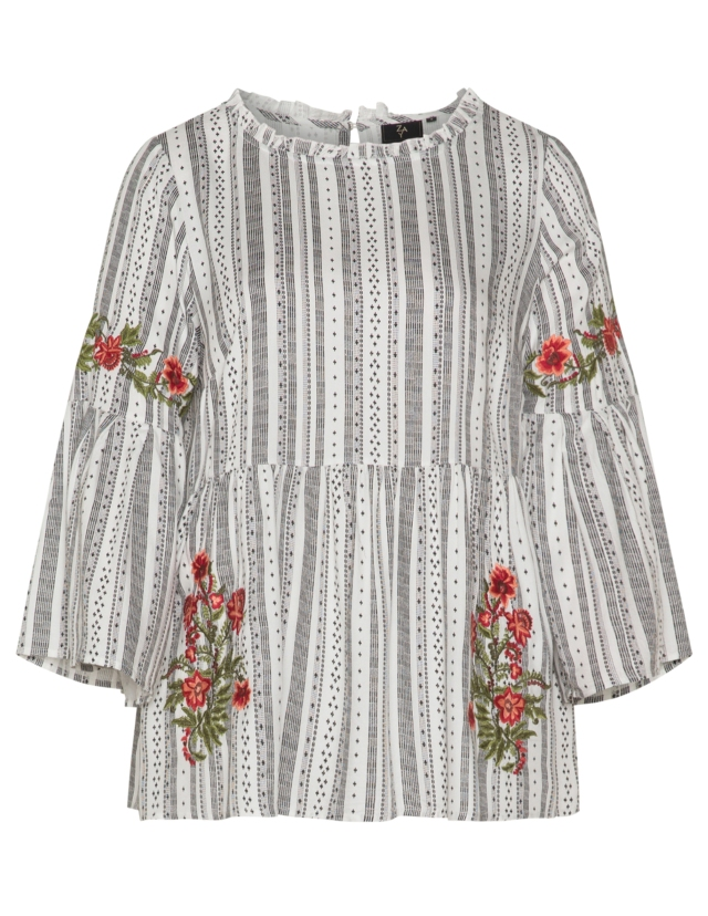 Embroidered trumpet sleeve top