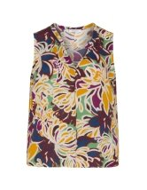 Printed sleeveless crêpe top
