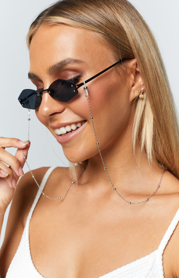 Eclat Volta Beaded Sunglasses Chain Silver