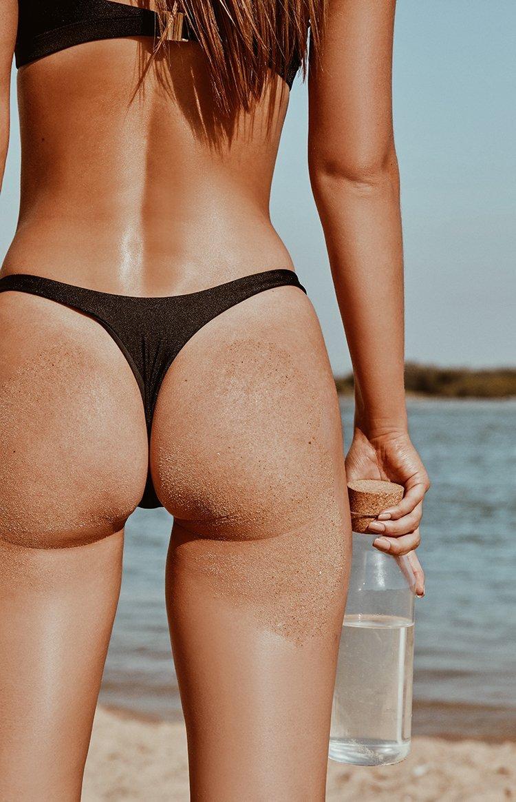 9.0 Swim Bahamas Bikini Bottoms Metallic Black