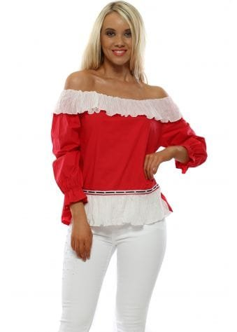 Red & White Pleated Frill Bardot Top