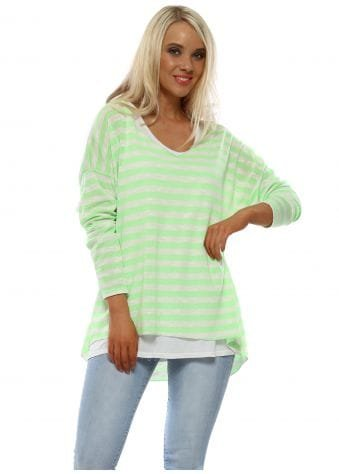 Lime Stripe Sweater & Vest Top