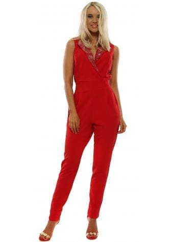Red Crystal Collar Jumpsuit