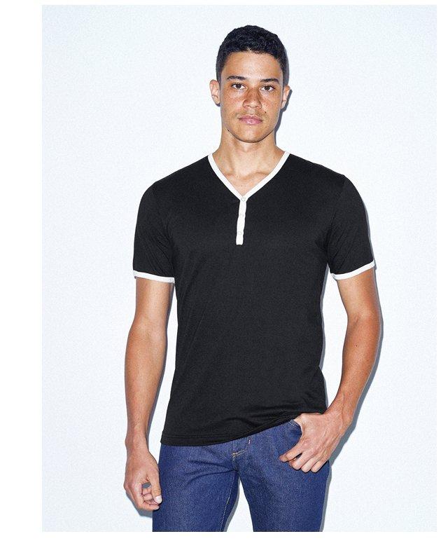 50/50 Henley Ringer V-Neck T-Shirt