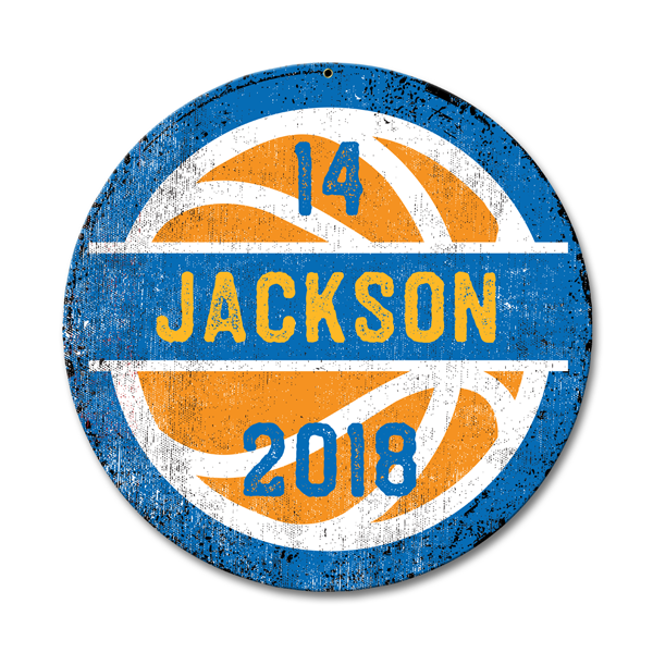 Image of Personalized Round Basketball Sign