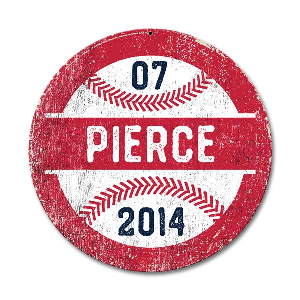 Image of Personalized Round Baseball Sign
