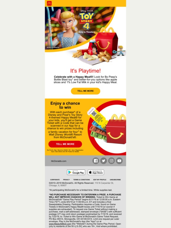 McDonald's: Buy a Happy Meal and you could win a vacation for 4 to