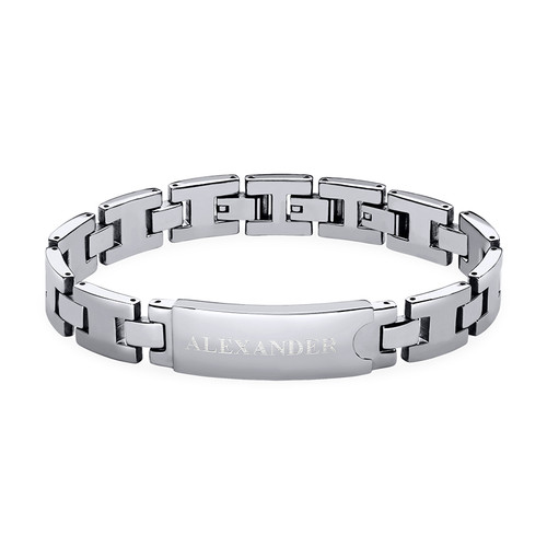 Edelstahl-Glieder-Armband mit Gravur für Herren
