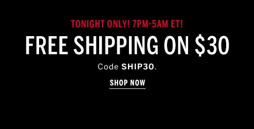 Today Only! Free Shipping on $30
