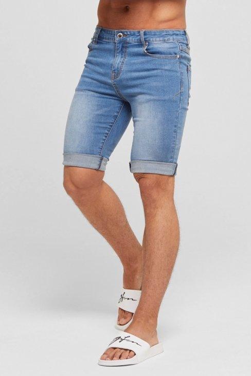 Blue Non-Ripped Denim Shorts