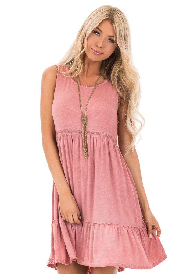 e36e12b09aa ... Tawny Pink Washed Dress with Lace Detail and Crisscross Back