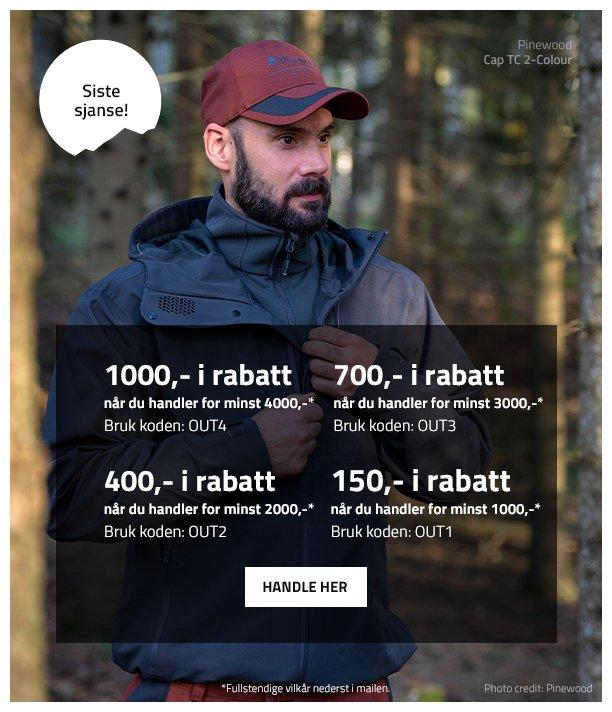 6cbd0318 Outnorth: Siste sjansen - spar opptil 1000 kr i rabattstigen vår ...