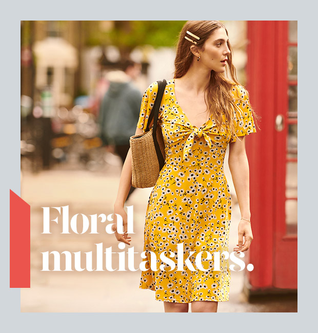 Floral multitaskers. Shop Dresses