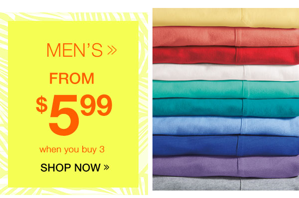 Men's Tees from $5.99 when you buy 3