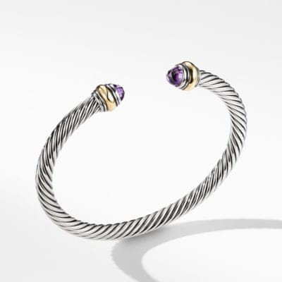 Cable Classic® Bracelet with Amethyst and 14K Gold, 5mm