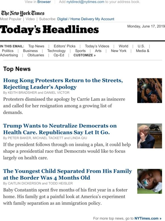 The New York Times: Today's Headlines: Hong Kong Protesters