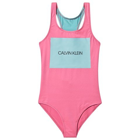 Calvin Klein Pink and Blue Branded Print Swimsuit