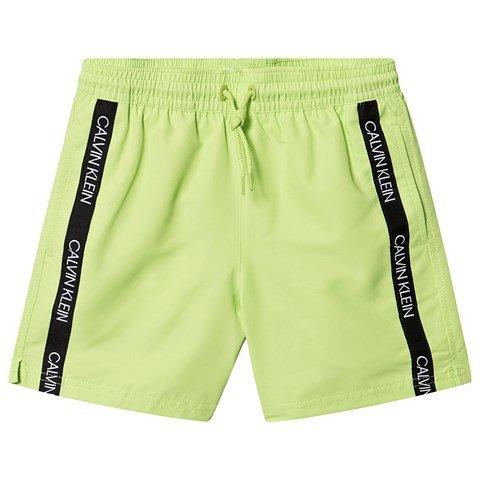 Calvin Klein Lime Green Branded Taped Swim Shorts