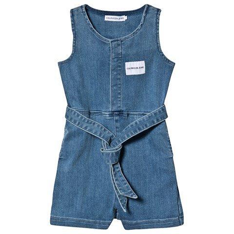 Calvin Klein Jeans Blue Denim Playsuit with Tie Waist