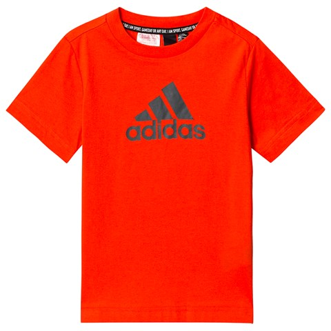 adidas Performance Orange and Charcoal Logo T-Shirt