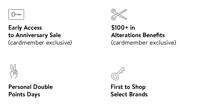 Early Access to Anniversary Sale (cardmember exclusive) | $100+ in Alterations Benefits (cardmember exclusive) | First to Shop Select Brands | Personal Double Points Days