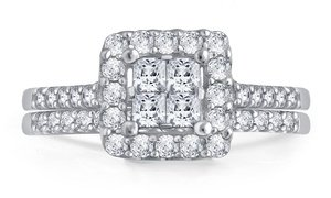 1.00 CTTW Princess Diamond Bridal Set in 10K White Gold