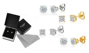 1/10 - 2 CTTW Diamond Solitaire Stud Earrings in 10K Gold by DeCouer